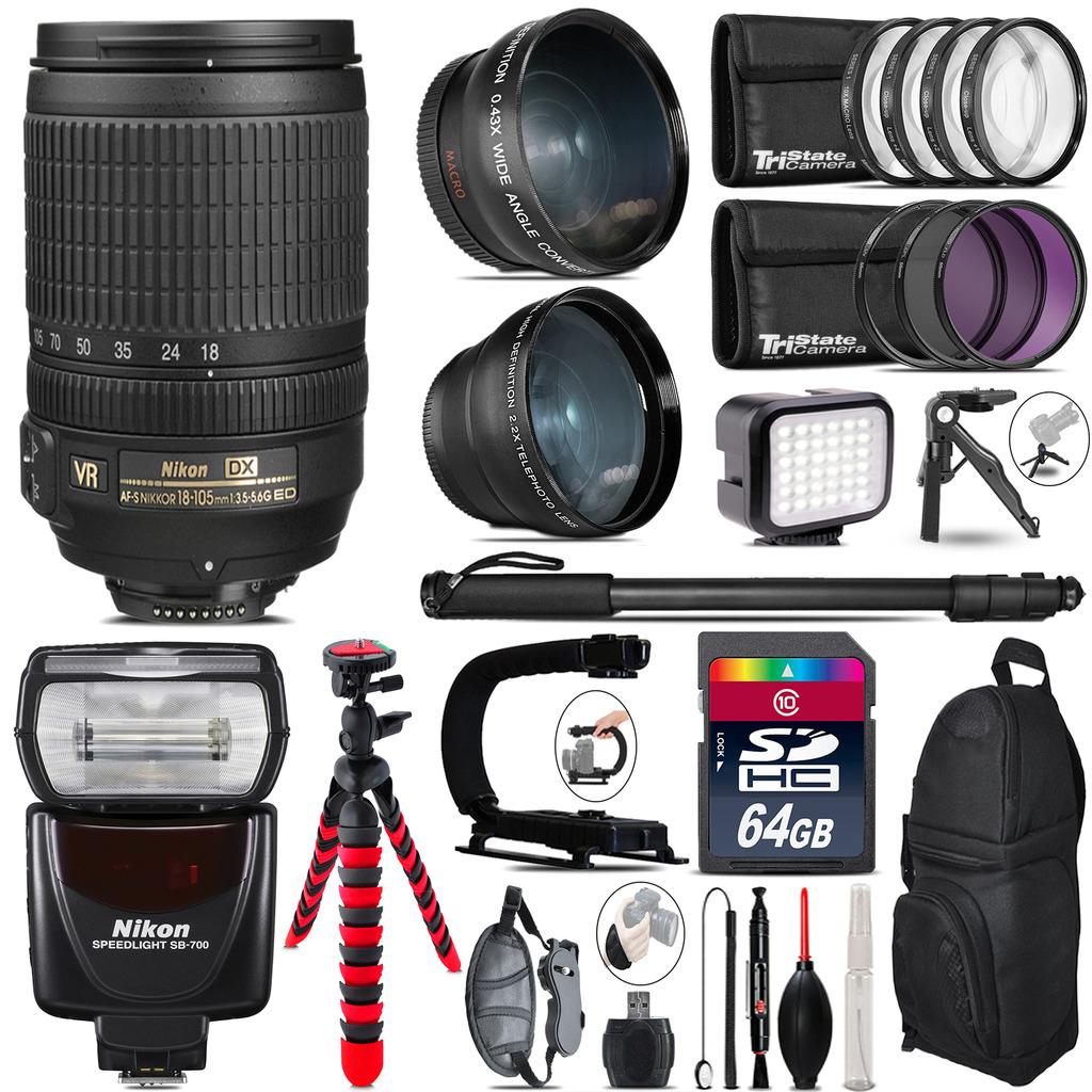 Nikon DX 18-105mm VR + SB-700 AF Speedlight - LED LIGHT - 64GB Accessory Kit *FREE SHIPPING*