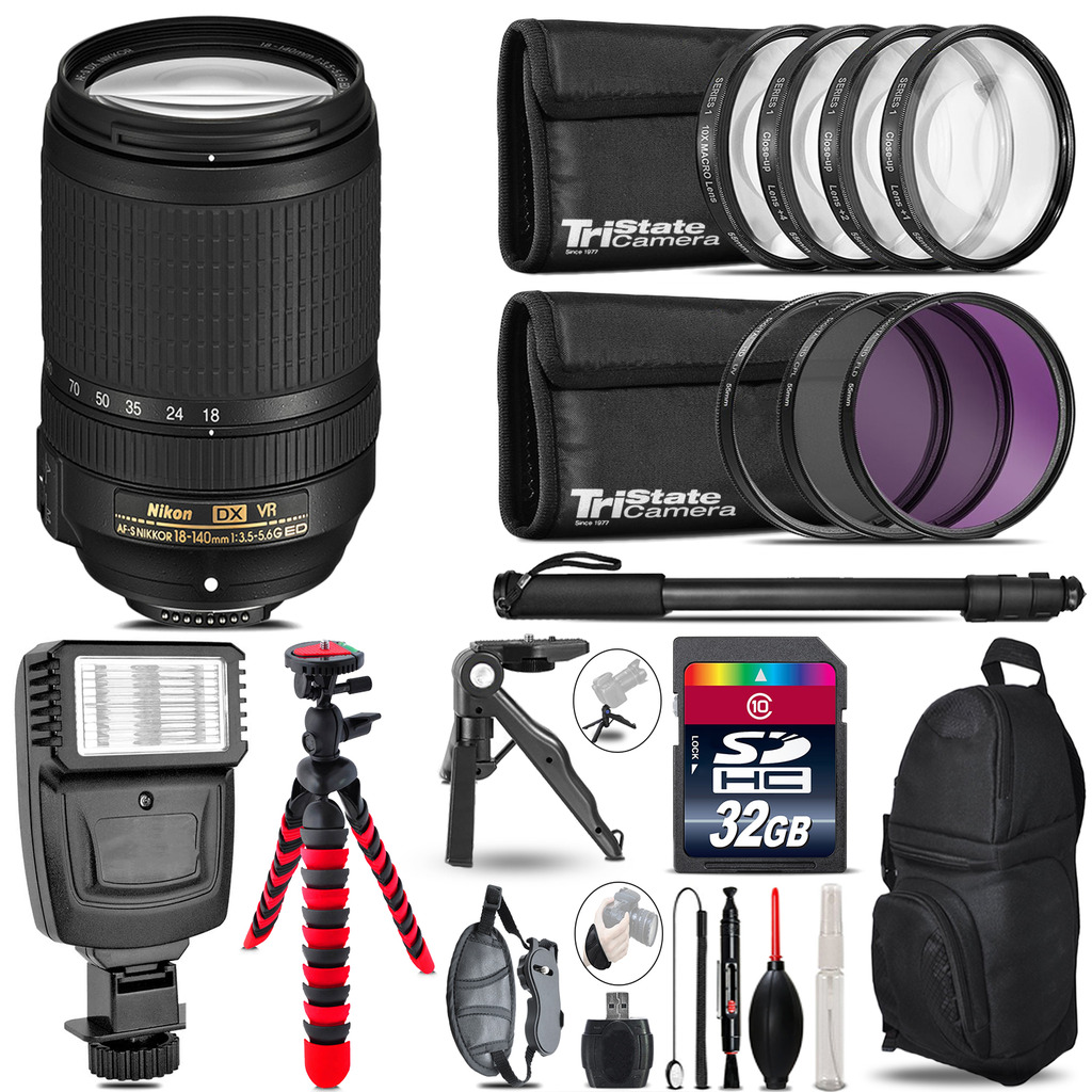Nikon DX 18-140mm VR + Slave Flash + MACRO, UV-CPL-FLD - 32GB Accessory Bundle *FREE SHIPPING*
