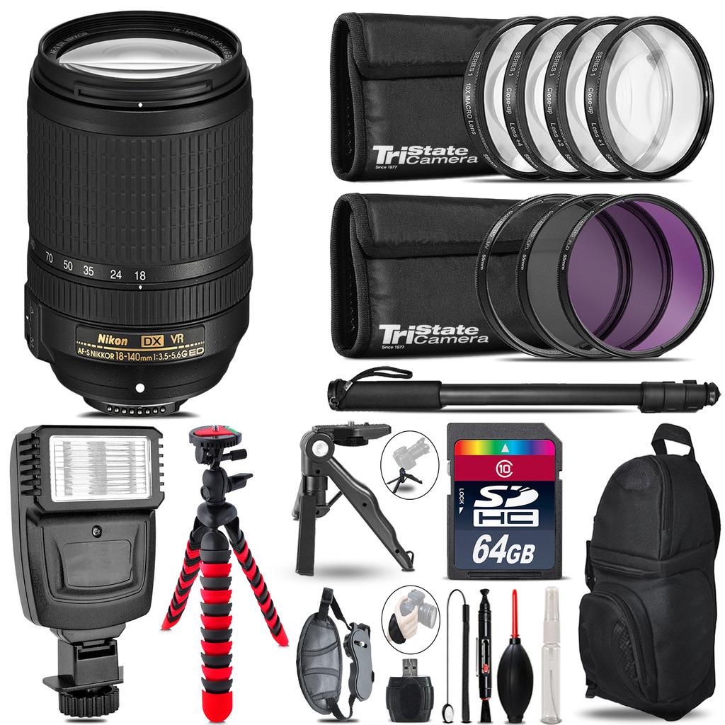 Nikon DX 18-140mm VR + Slave Flash + MACRO, UV-CPL-FLD - 64GB Accessory Bundle *FREE SHIPPING*