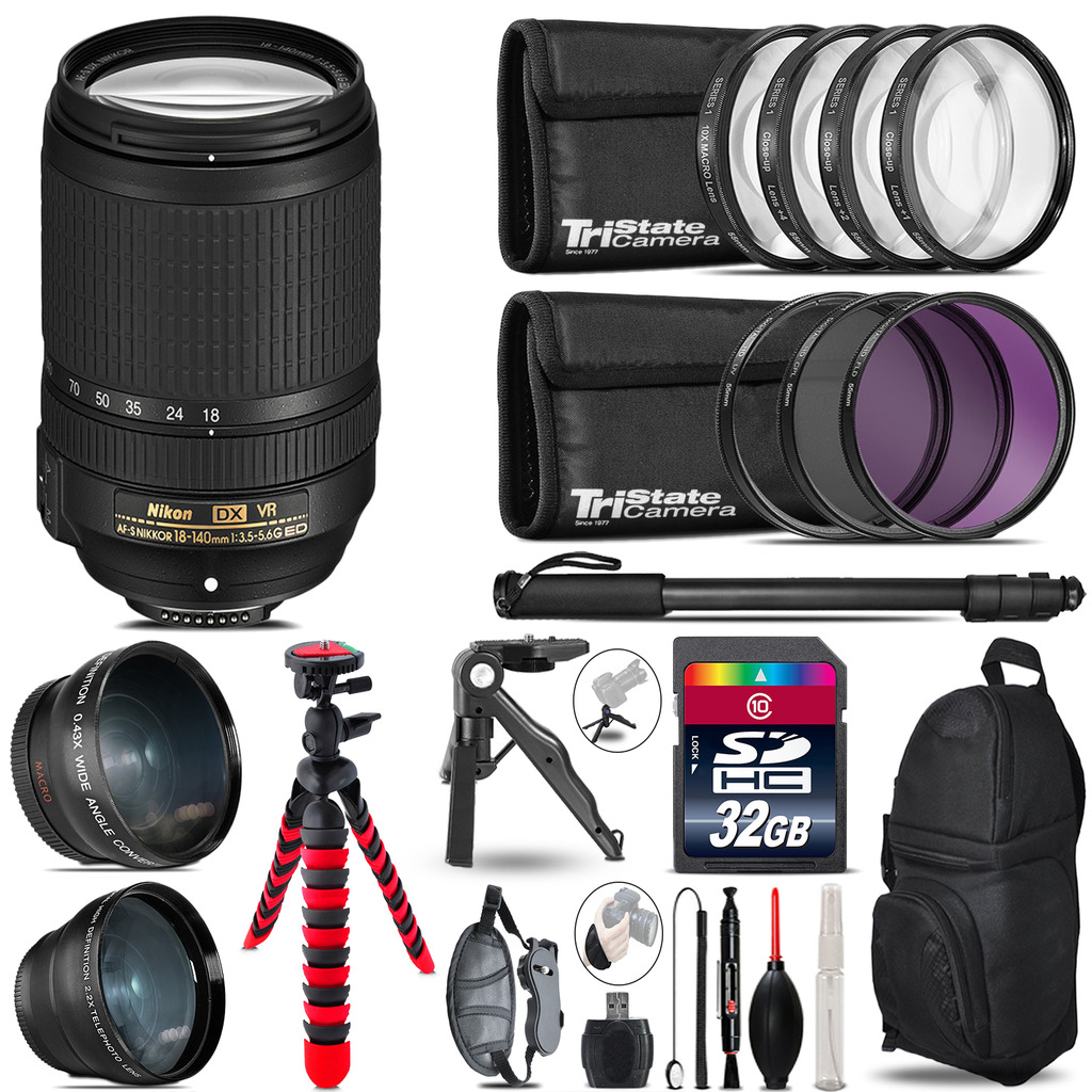 Nikon DX 18-140mm VR - 3 Lens Kit + Tripod + Backpack - 32GB Accessory Bundle *FREE SHIPPING*