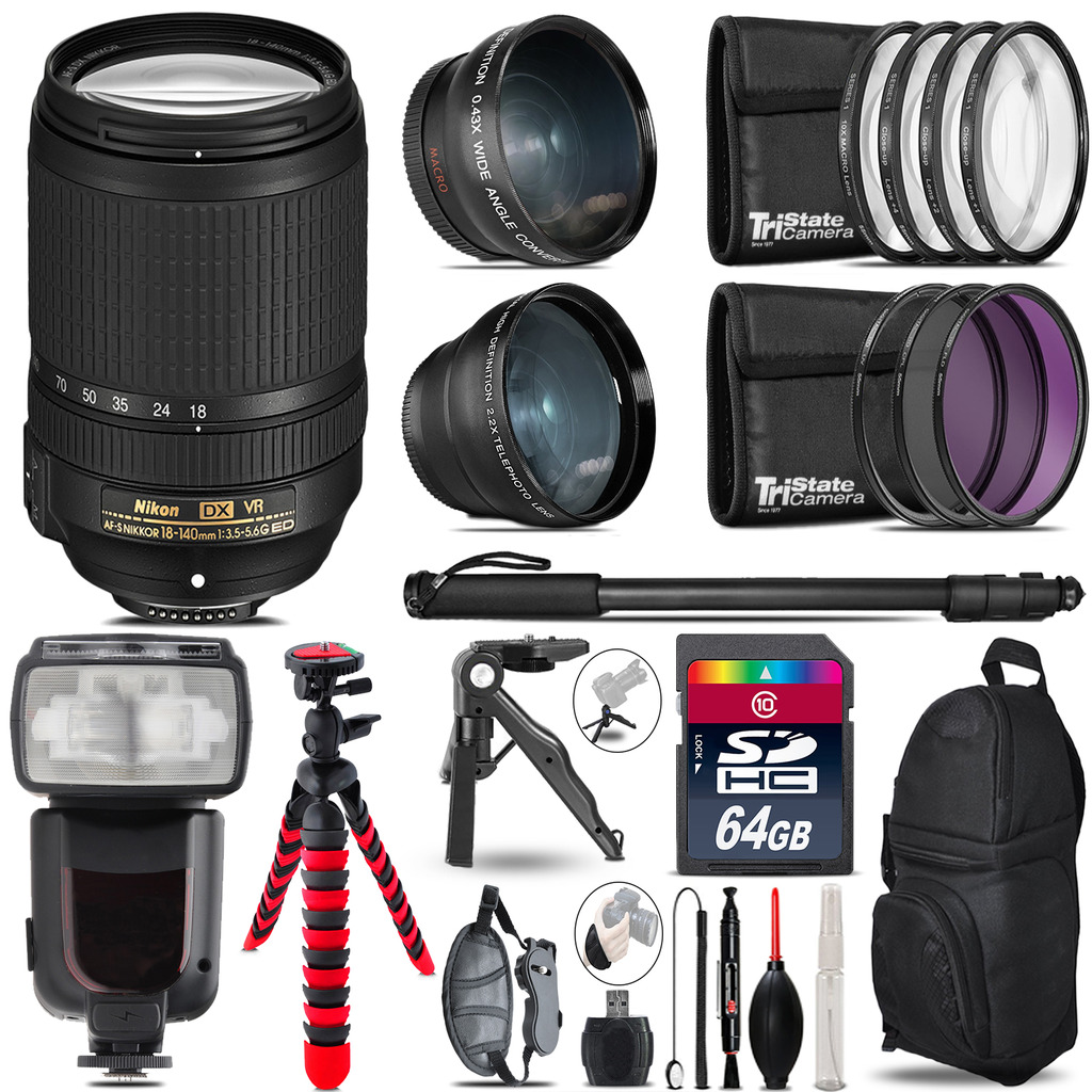 Nikon DX 18-140mm VR - 3 Lens Kit + Professional Flash - 64GB Accessory Bundle *FREE SHIPPING*