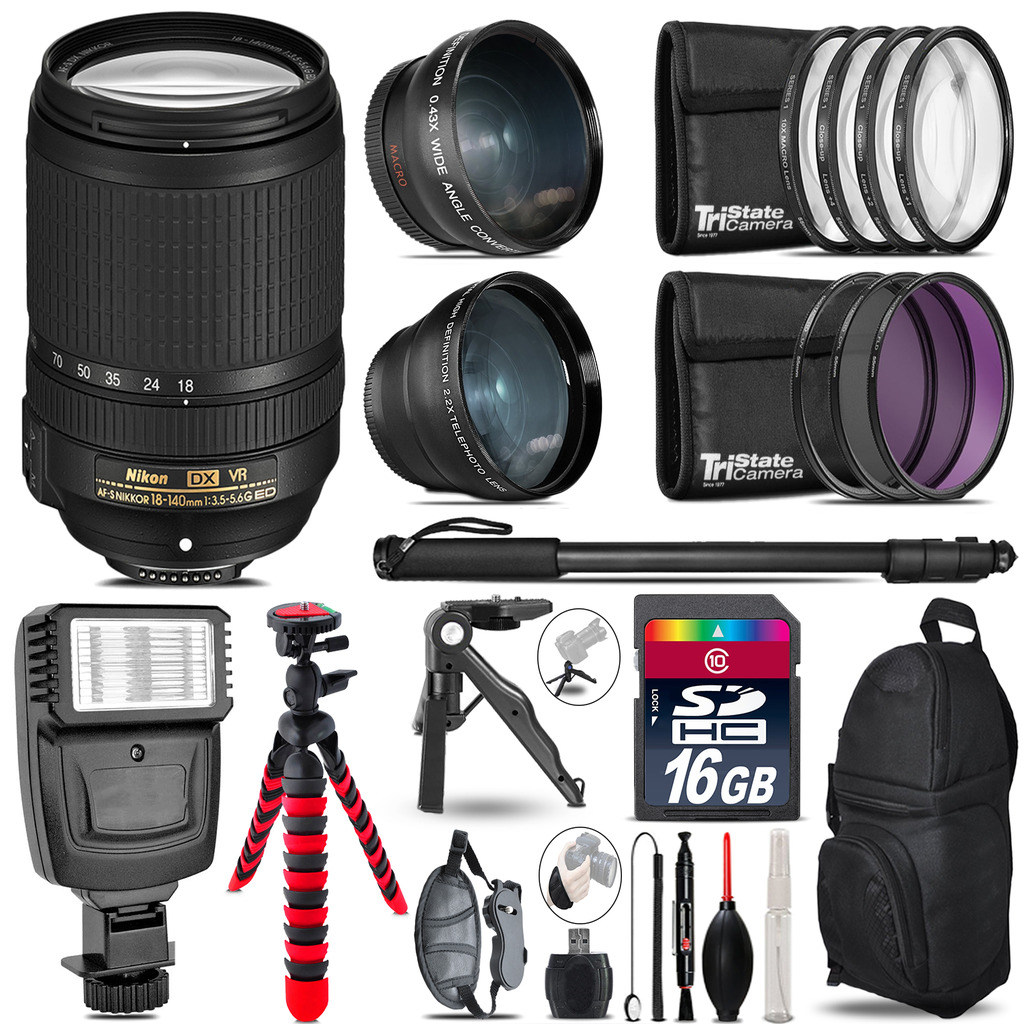Nikon DX 18-140mm VR -3 Lens Kit + Slave Flash + Tripod - 16GB Accessory Bundle *FREE SHIPPING*