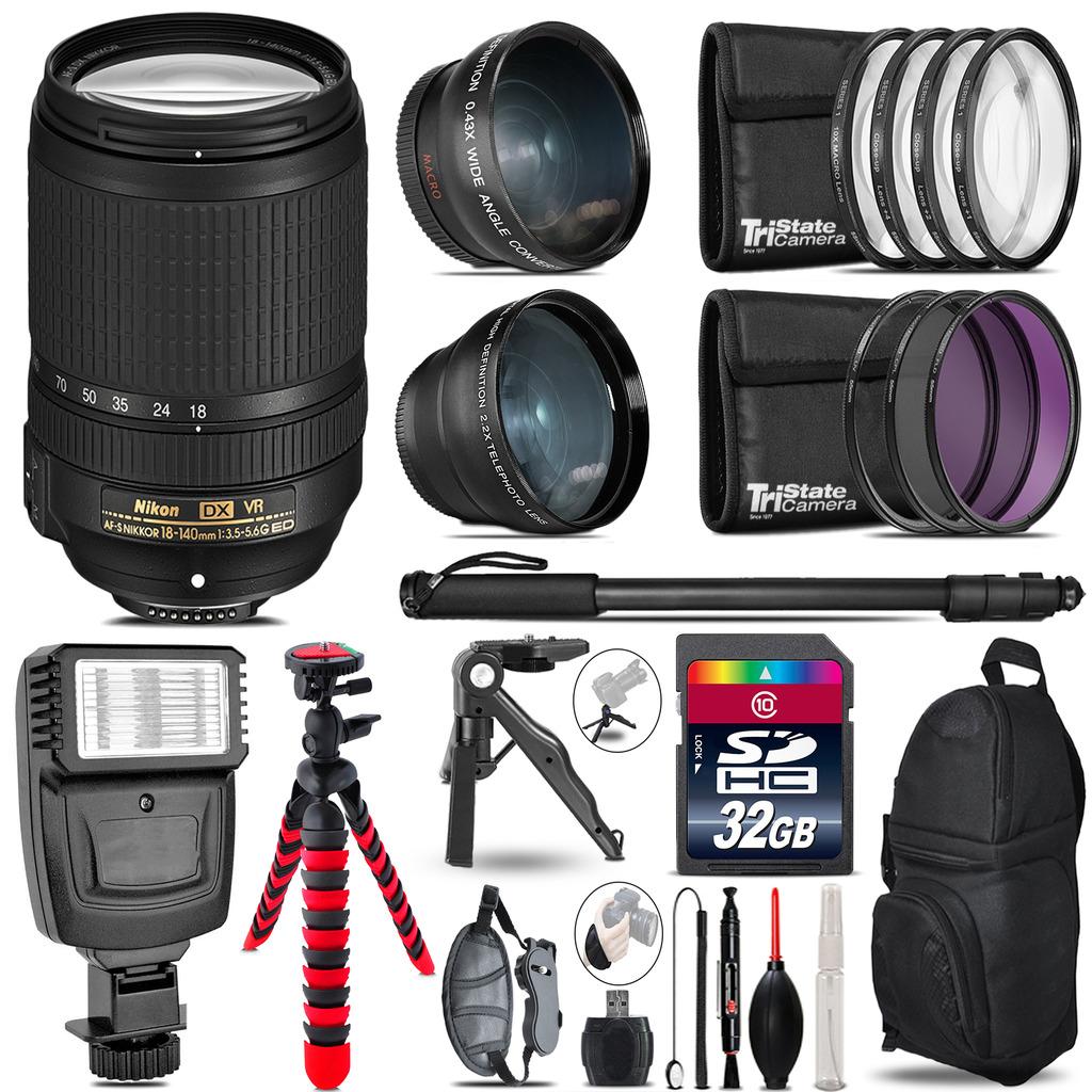 Nikon DX 18-140mm VR -3 Lens Kit + Slave Flash + Tripod - 32GB Accessory Bundle *FREE SHIPPING*