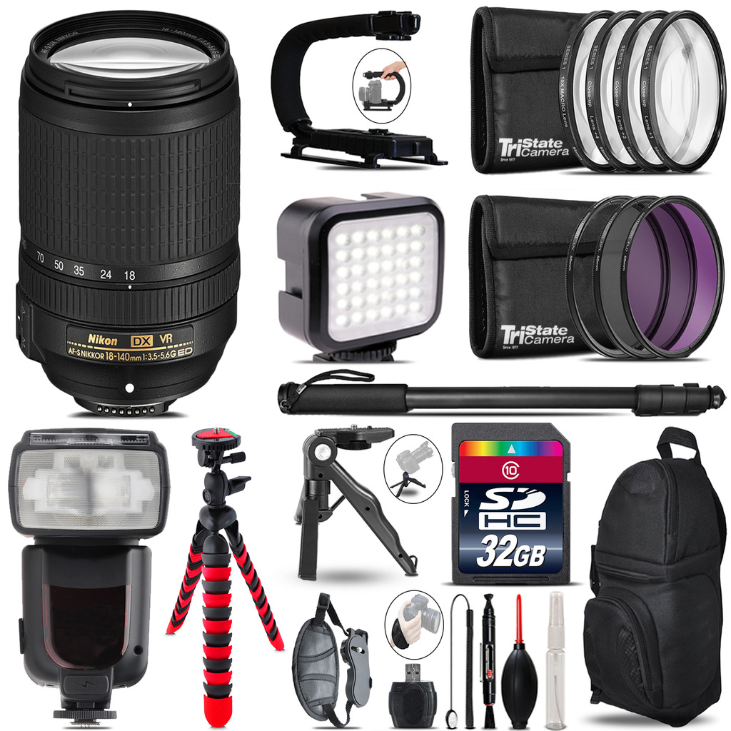 Nikon DX 18-140mm VR - Video Kit + Pro Flash + Monopod - 32GB Accessory Bundle *FREE SHIPPING*