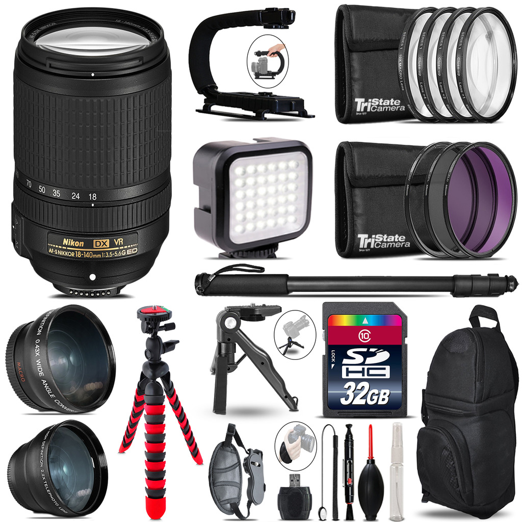 Nikon AF-S 18-140mm VR -Video Kit + LED KIt + Monopod - 32GB Accessory Bundle *FREE SHIPPING*