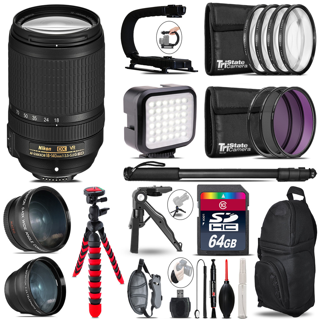 Nikon AF-S 18-140mm VR -Video Kit + LED KIt + Monopod - 64GB Accessory Bundle *FREE SHIPPING*