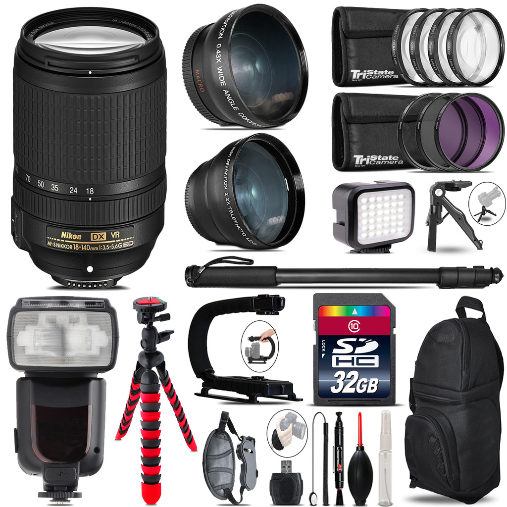 Nikon DX 18-140mm VR + Pro Flash + LED Light + Tripod - 32GB Accessory Bundle *FREE SHIPPING*