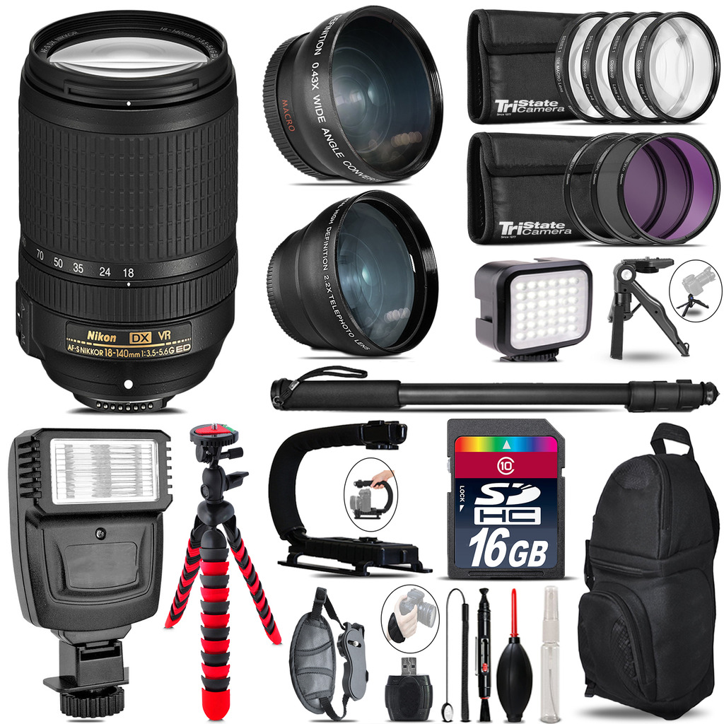 Nikon DX 18-140mm VR + Slave Flash + LED Light + Tripod - 16GB Accessory Bundle *FREE SHIPPING*