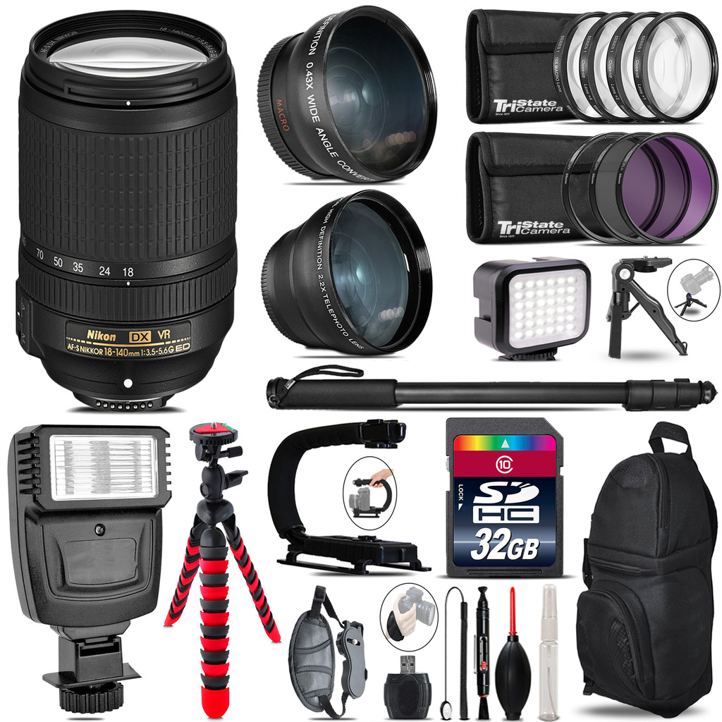 Nikon DX 18-140mm VR + Slave Flash + LED Light + Tripod - 32GB Accessory Bundle *FREE SHIPPING*