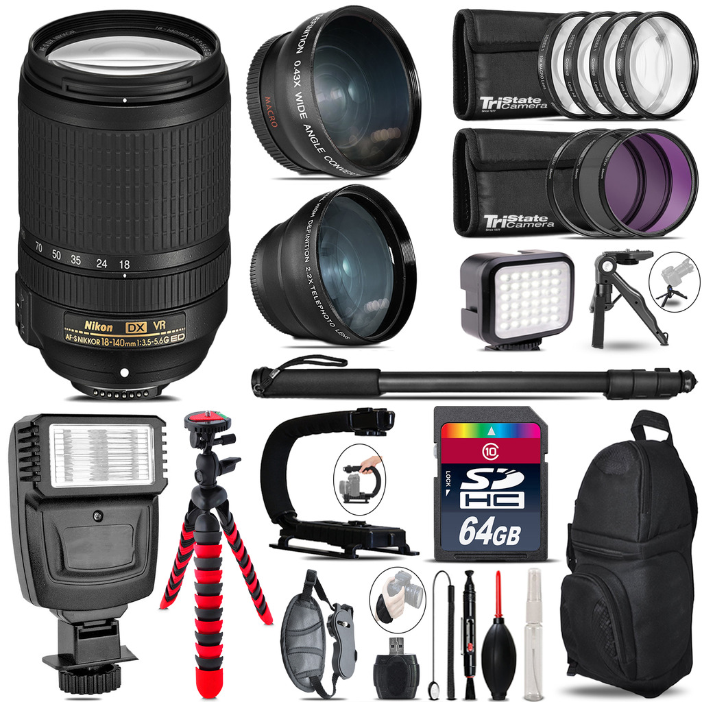 Nikon DX 18-140mm VR + Slave Flash + LED Light + Tripod - 64GB Accessory Bundle *FREE SHIPPING*