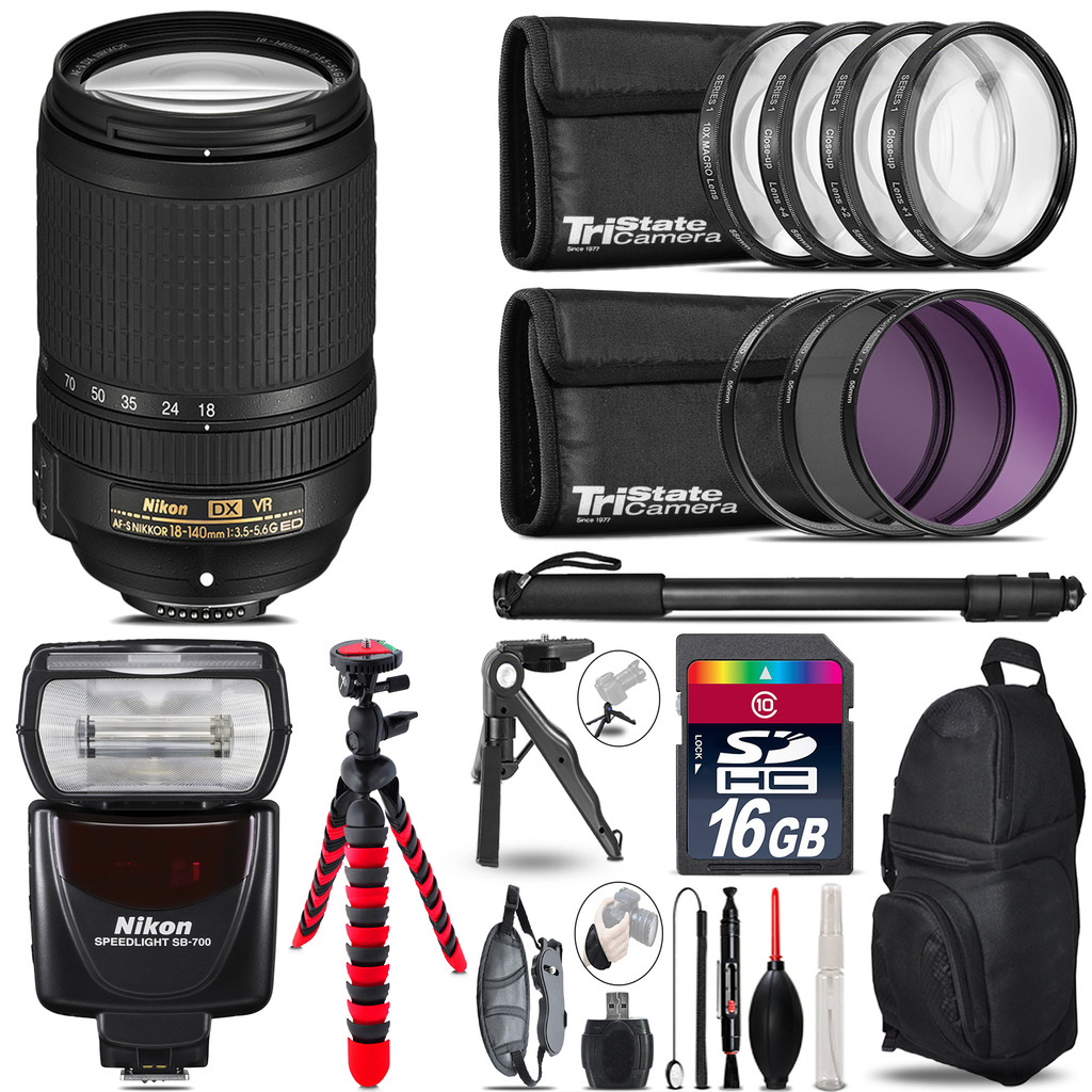 Nikon DX 18-140mm VR + SB-700 AF Speedlight + UV-CPL-FLD - 16GB Accessory Kit *FREE SHIPPING*