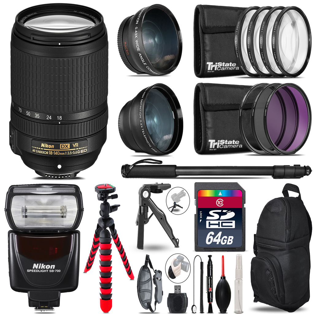 Nikon DX 18-140mm VR + SB-700 AF Speedlight - 3 Lens Kit - 64GB Accessory Kit *FREE SHIPPING*