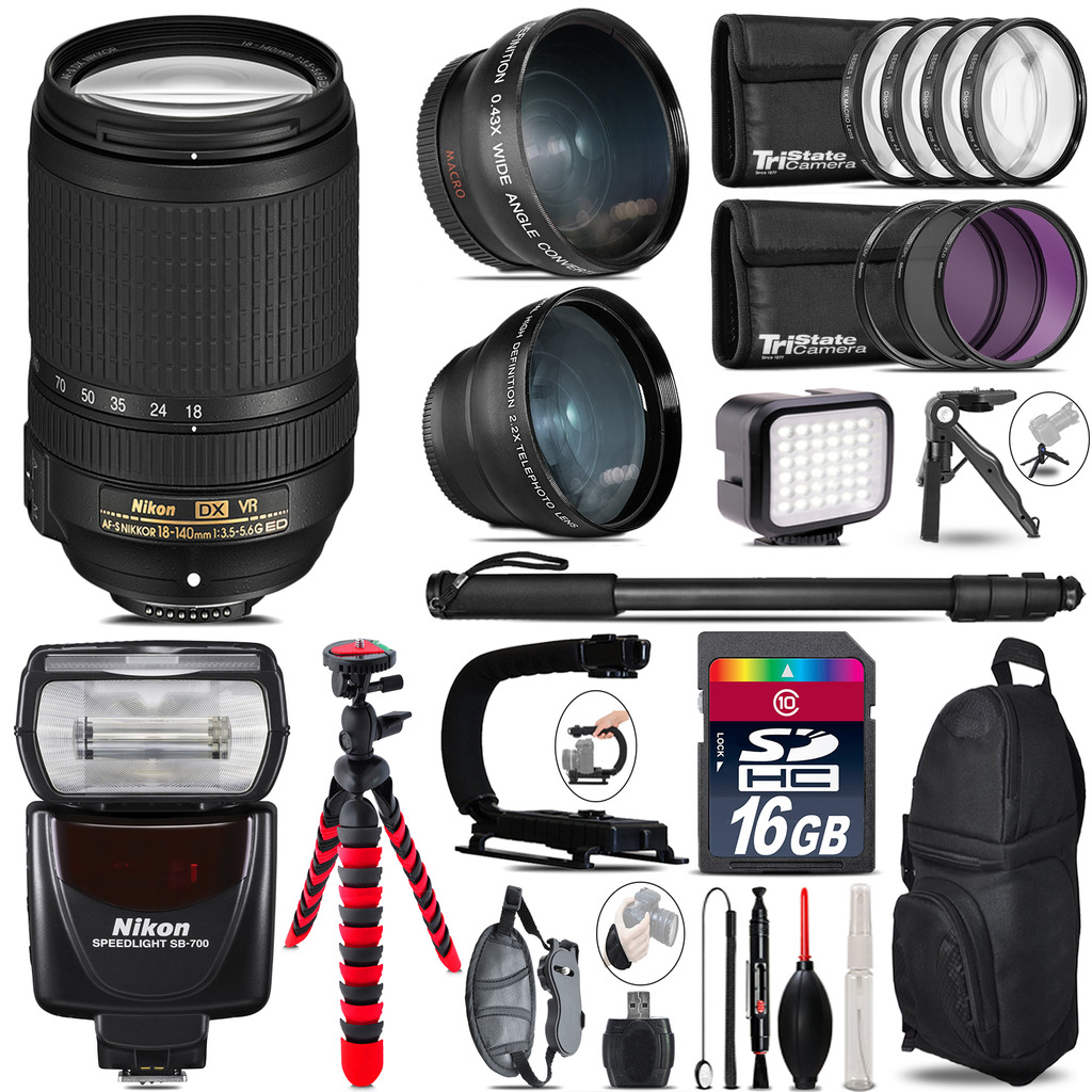 Nikon DX 18-140mm VR + SB-700 AF Speedlight - LED LIGHT - 16GB Accessory Kit *FREE SHIPPING*