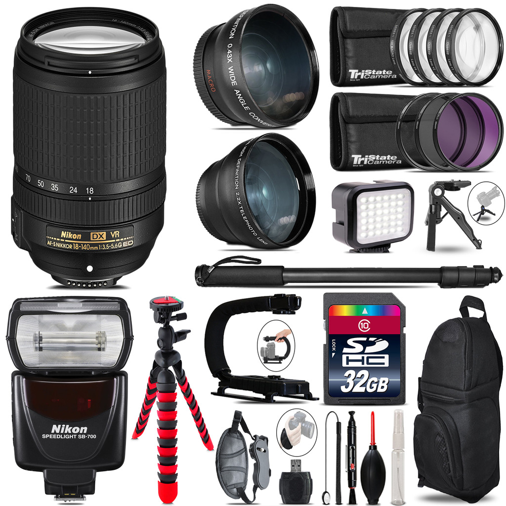 Nikon DX 18-140mm VR + SB-700 AF Speedlight - LED LIGHT - 32GB Accessory Kit *FREE SHIPPING*