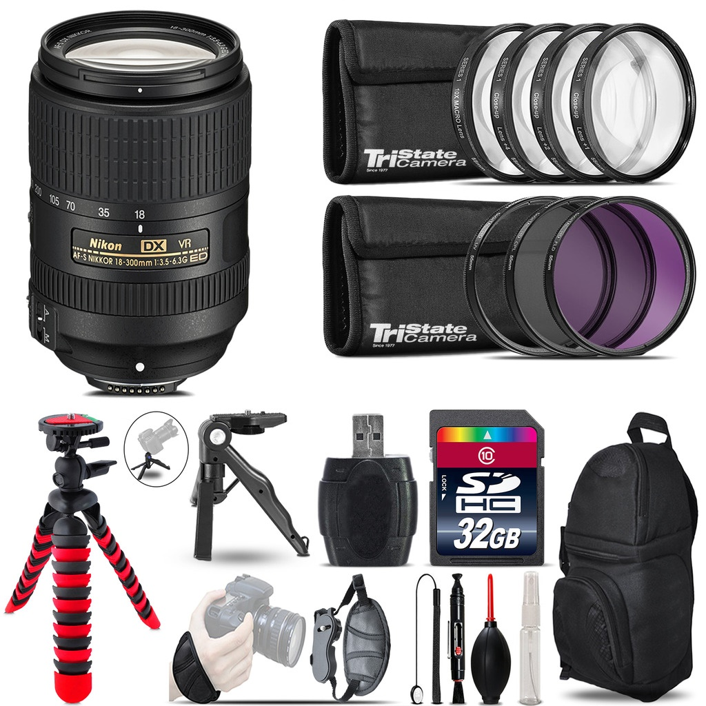 Nikon DX 18-300mm VR + MACRO, UV-CPL-FLD Filter + Monopod - 32GB Accessory Kit *FREE SHIPPING*