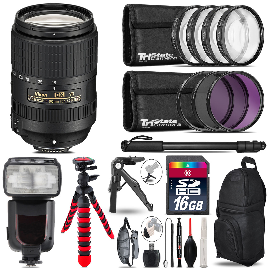 Nikon DX 18-300mm VR + Professional Flash + Macro Kit - 16GB Accessory Bundle *FREE SHIPPING*