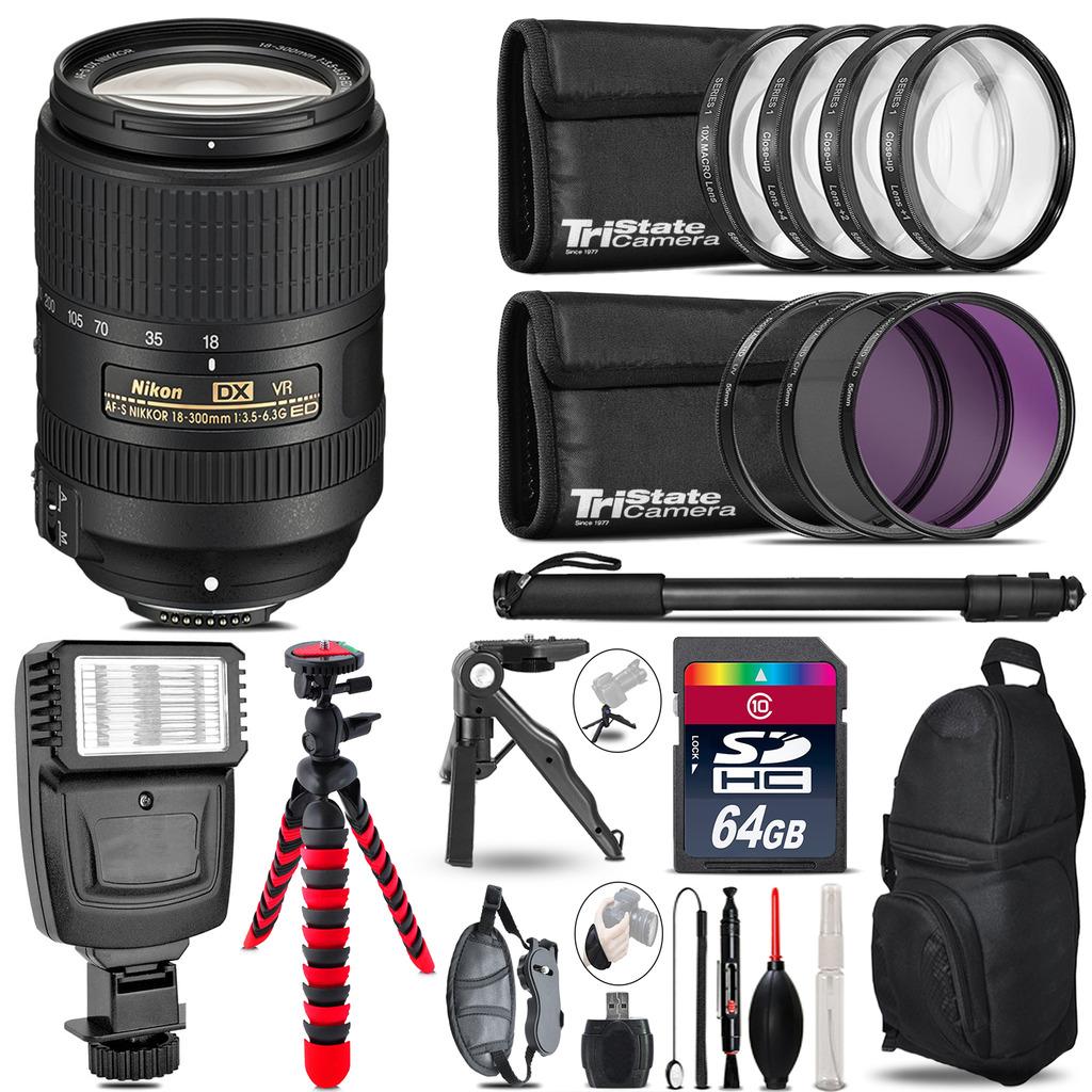 Nikon DX 18-300mm VR + Slave Flash + MACRO, UV-CPL-FLD - 64GB Accessory Bundle *FREE SHIPPING*