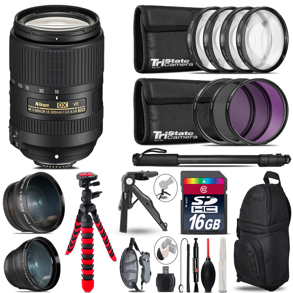 Nikon DX 18-300mm VR - 3 Lens Kit + Tripod + Backpack - 16GB Accessory Bundle *FREE SHIPPING*