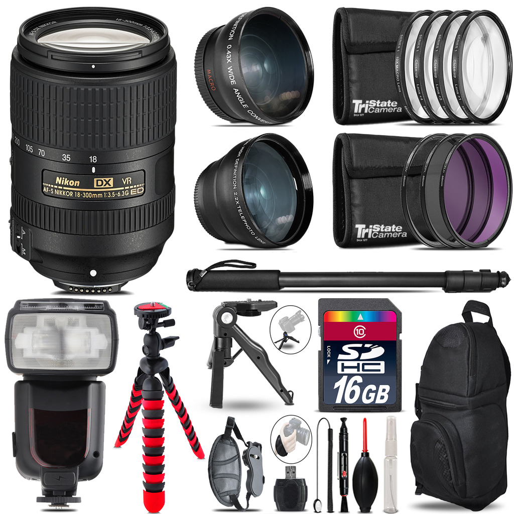 Nikon DX 18-300mm VR - 3 Lens Kit + Professional Flash - 16GB Accessory Bundle *FREE SHIPPING*