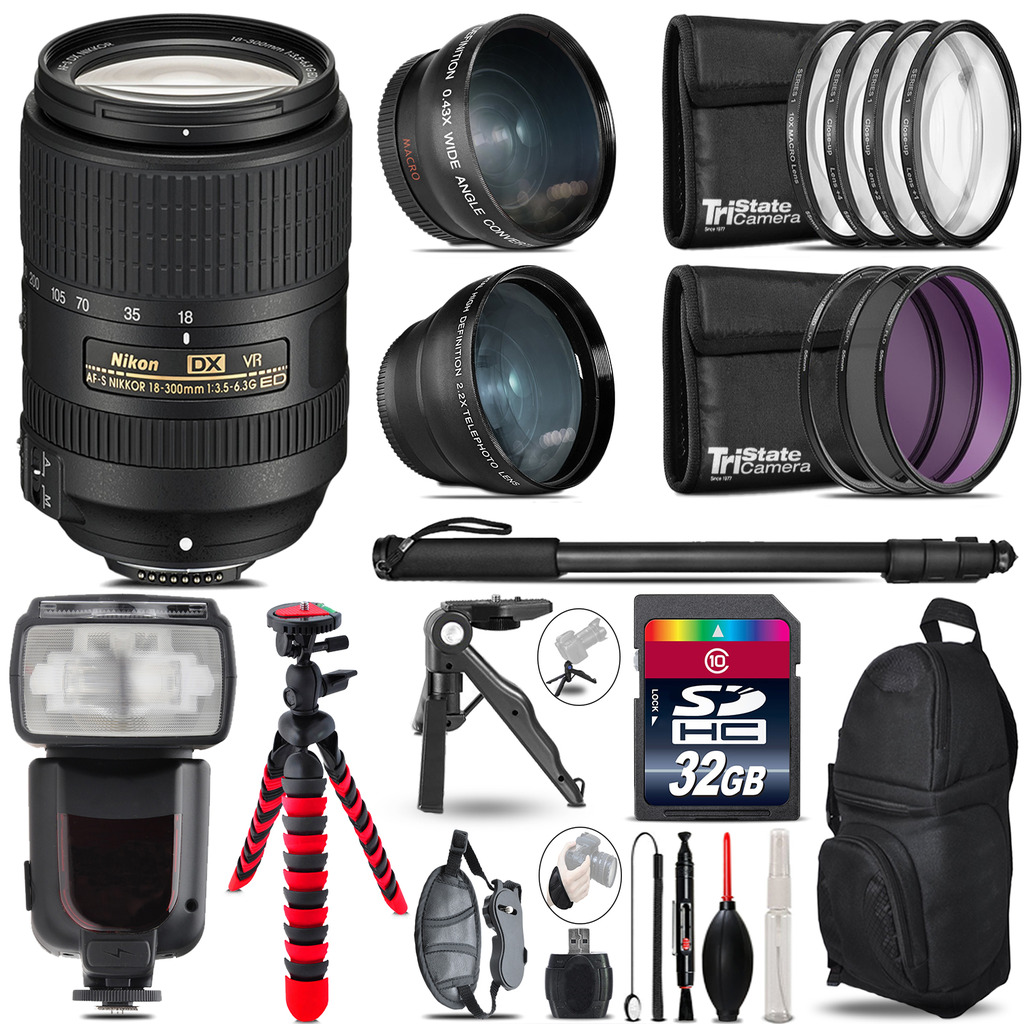 Nikon DX 18-300mm VR - 3 Lens Kit + Professional Flash - 32GB Accessory Bundle *FREE SHIPPING*