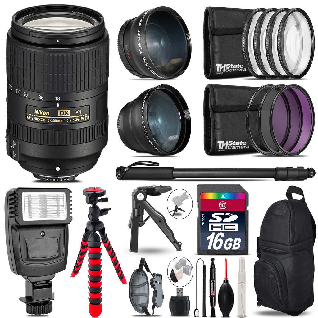 Nikon DX 18-300mm VR -3 Lens Kit + Slave Flash + Tripod - 16GB Accessory Bundle *FREE SHIPPING*