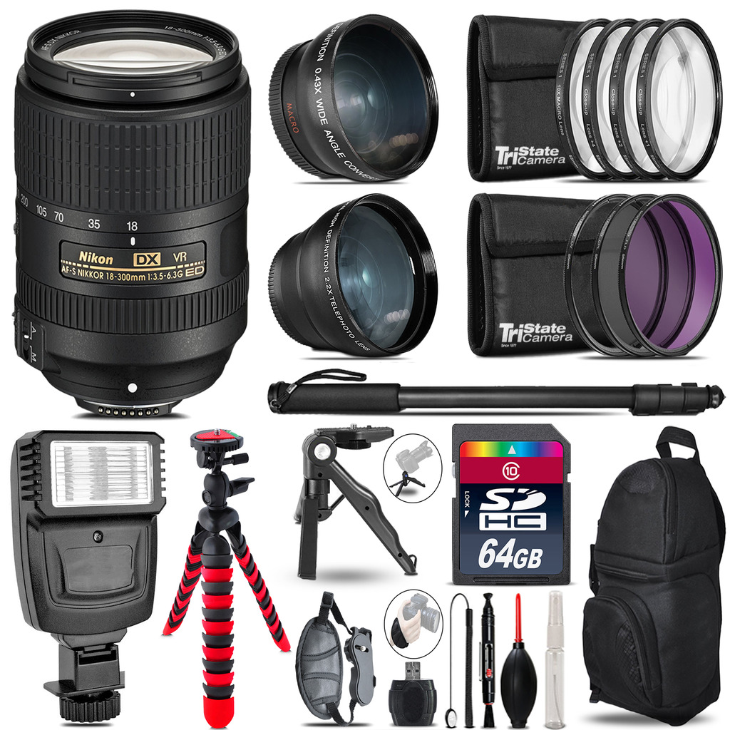 Nikon DX 18-300mm VR -3 Lens Kit + Slave Flash + Tripod - 64GB Accessory Bundle *FREE SHIPPING*