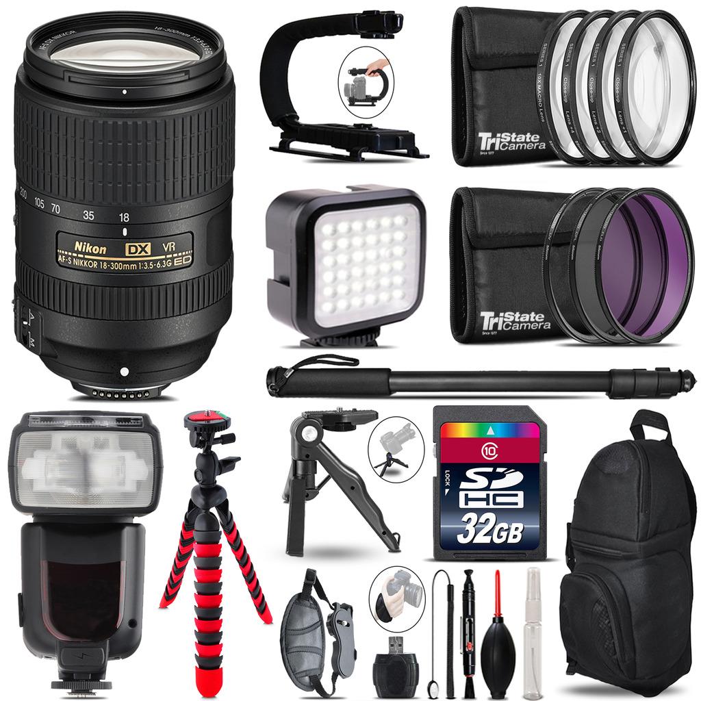 Nikon DX 18-300mm VR - Video Kit + Pro Flash + Monopod - 32GB Accessory Bundle *FREE SHIPPING*