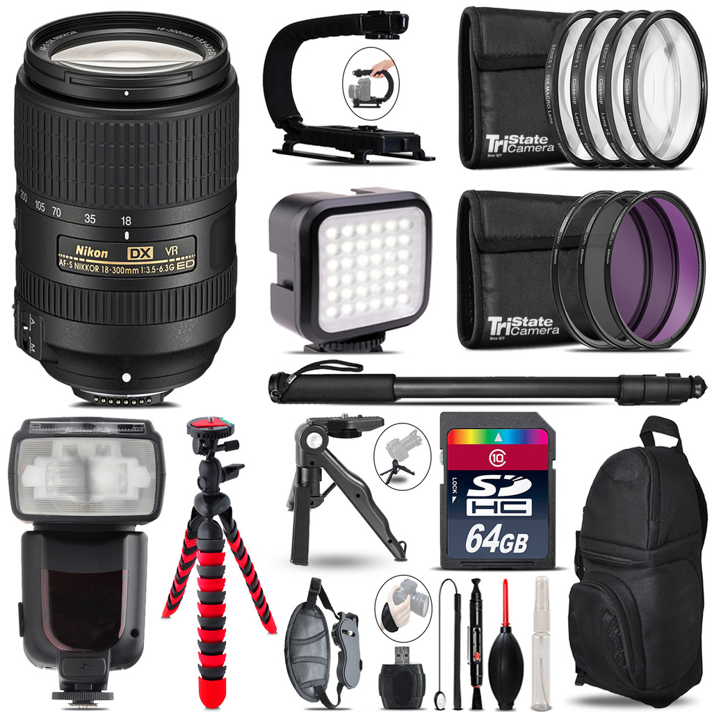 Nikon DX 18-300mm VR - Video Kit + Pro Flash + Monopod - 64GB Accessory Bundle *FREE SHIPPING*