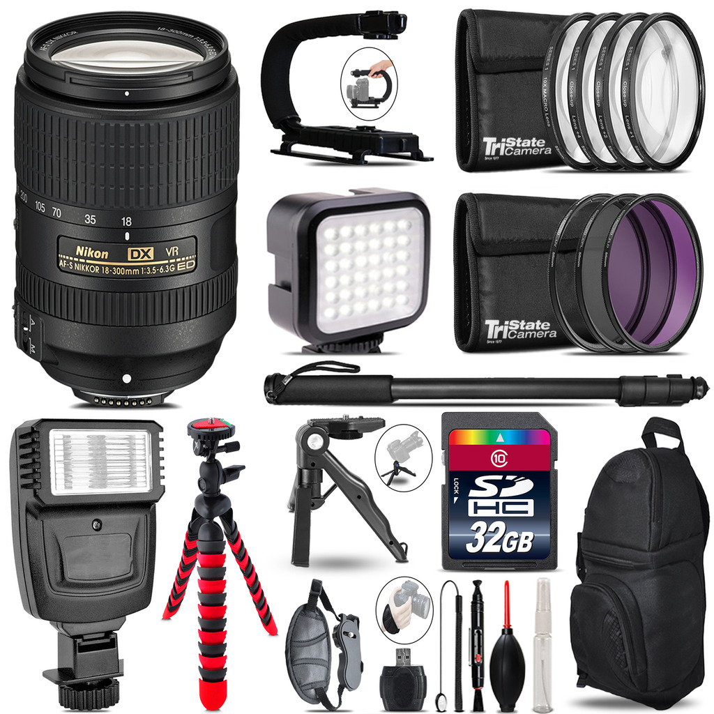 Nikon DX 18-300mm VR -Video Kit + Slave Flash + Monopod - 32GB Accessory Bundle *FREE SHIPPING*