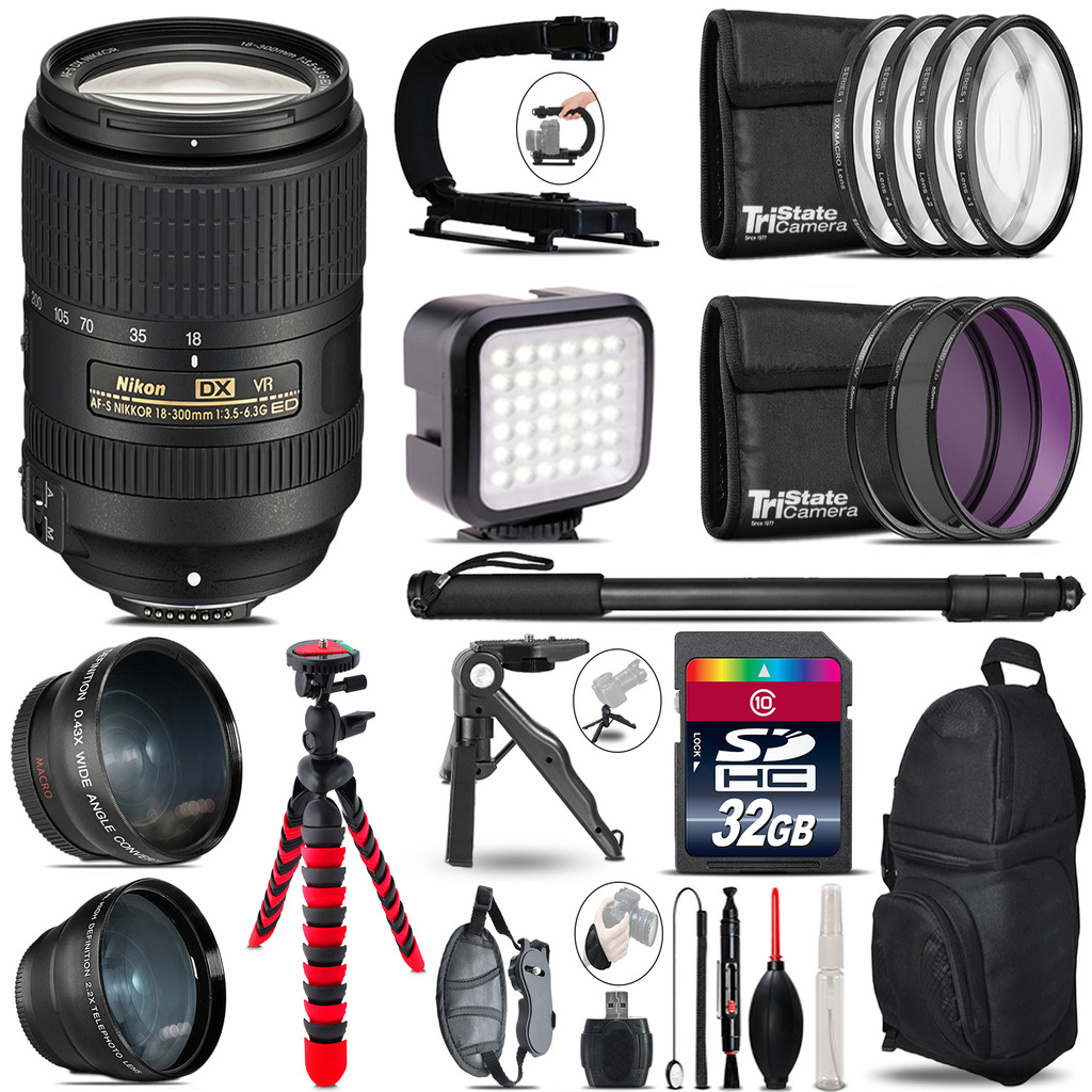 Nikon AF-S 18-300mm VR -Video Kit + LED KIt + Monopod - 32GB Accessory Bundle *FREE SHIPPING*