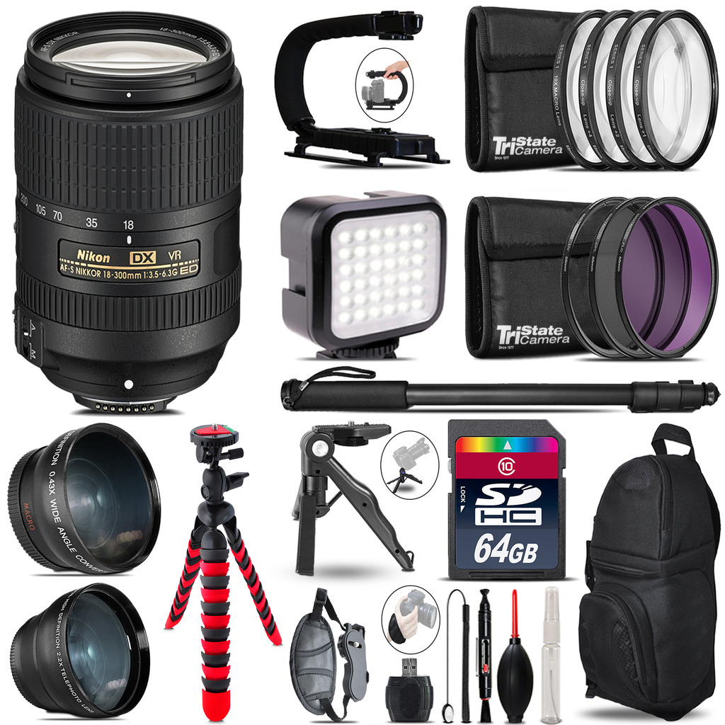 Nikon AF-S 18-300mm VR -Video Kit + LED KIt + Monopod - 64GB Accessory Bundle *FREE SHIPPING*