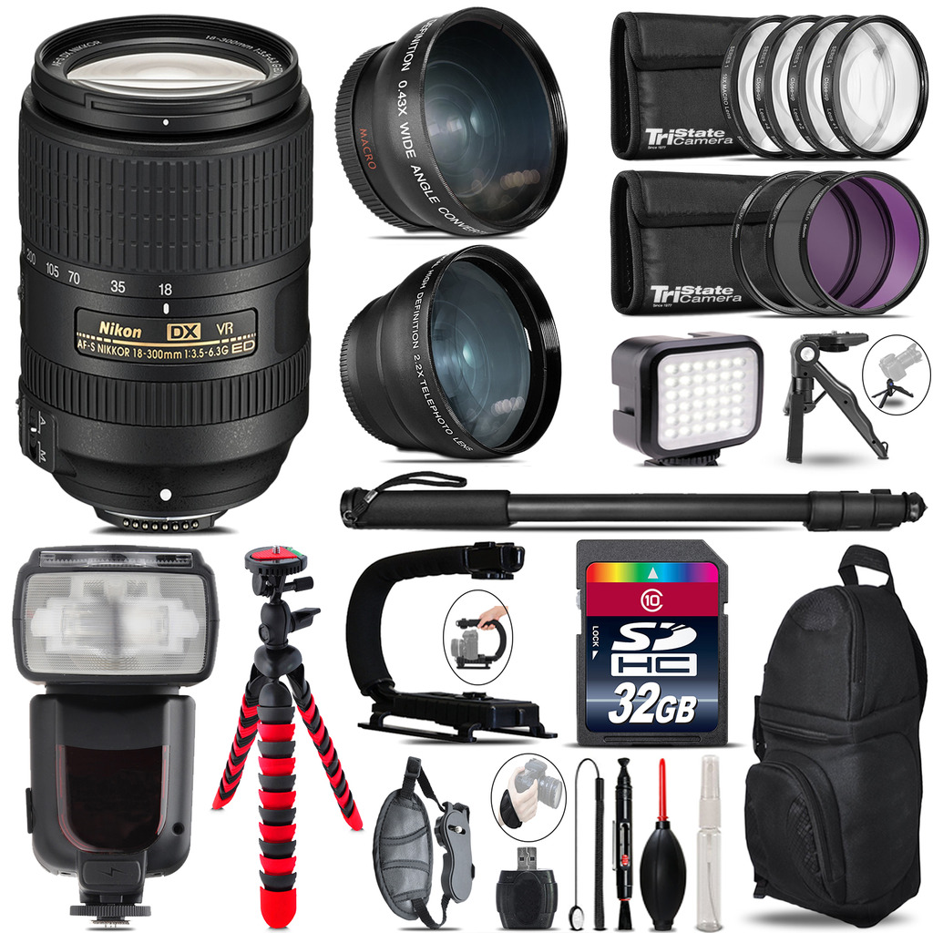 Nikon DX 18-300mm VR + Pro Flash + LED Light + Tripod - 32GB Accessory Bundle *FREE SHIPPING*