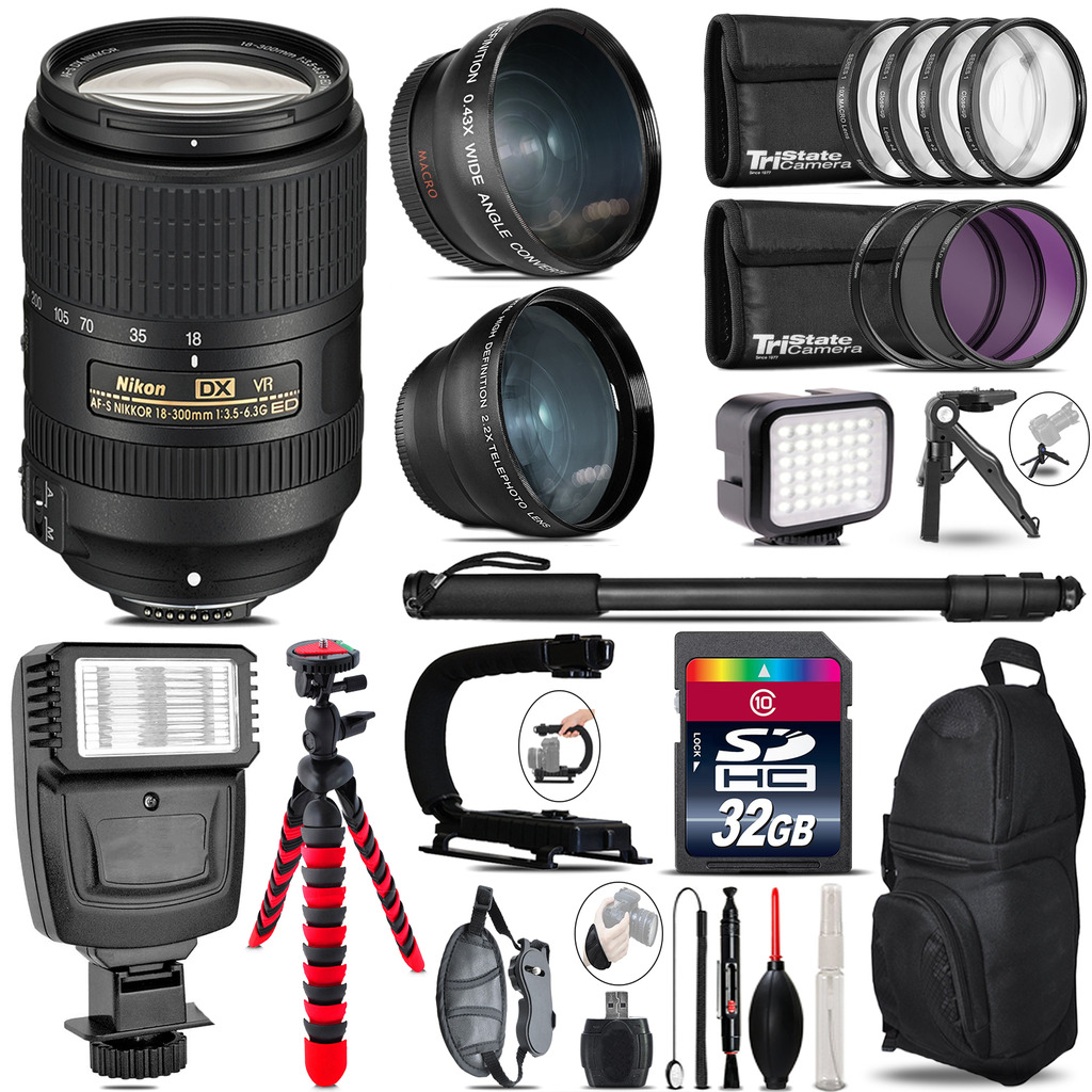 Nikon DX 18-300mm VR + Slave Flash + LED Light + Tripod - 32GB Accessory Bundle *FREE SHIPPING*