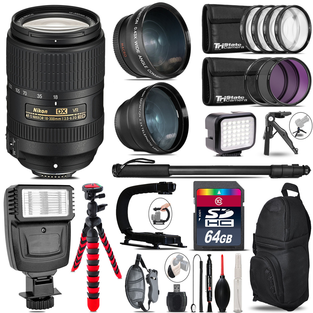 Nikon DX 18-300mm VR + Slave Flash + LED Light + Tripod - 64GB Accessory Bundle *FREE SHIPPING*