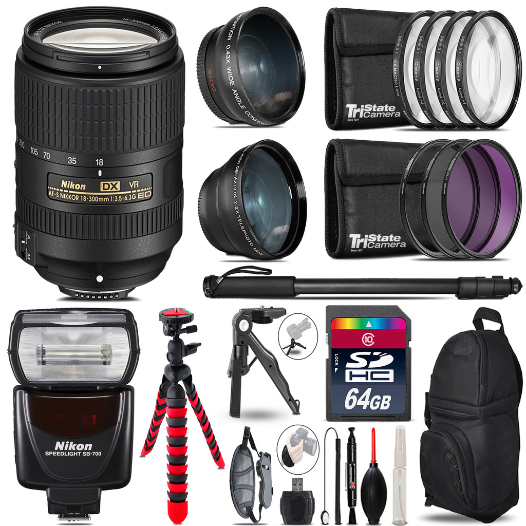 Nikon DX 18-300mm VR + SB-700 AF Speedlight - 3 Lens Kit - 64GB Accessory Kit *FREE SHIPPING*