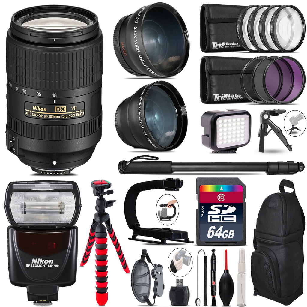 Nikon DX 18-300mm VR + SB-700 AF Speedlight - LED LIGHT - 64GB Accessory Kit *FREE SHIPPING*