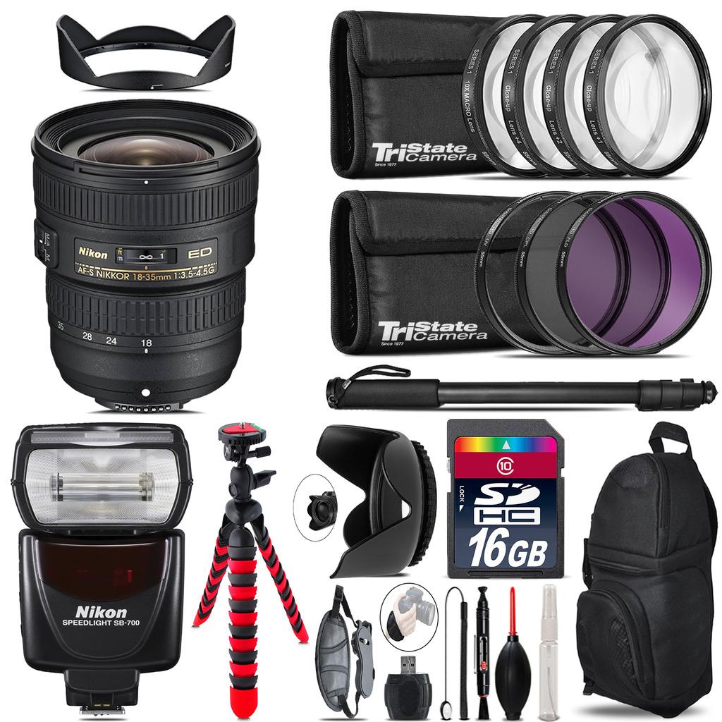 Nikon AF-S 18-35mm Lens + Nikon SB-700 AF Speedlight  & More - 16GB Kit *FREE SHIPPING*