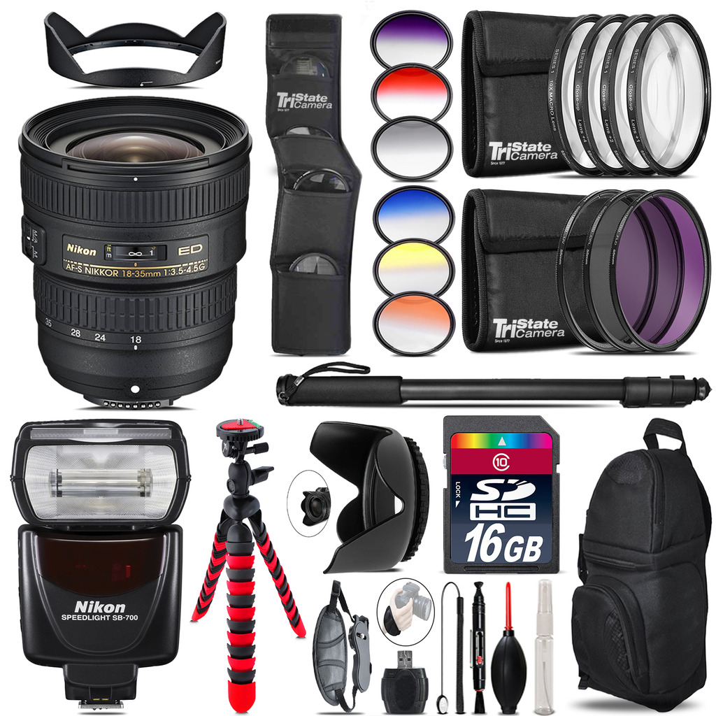 Nikon AF-S 18-35mm Lens + Nikon SB-700 AF Speedlight - 16GB Accessory Kit *FREE SHIPPING*
