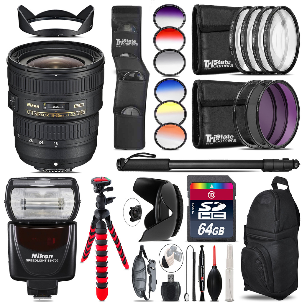 Nikon AF-S 18-35mm Lens + Nikon SB-700 AF Speedlight  - 64GB Accessory Kit *FREE SHIPPING*