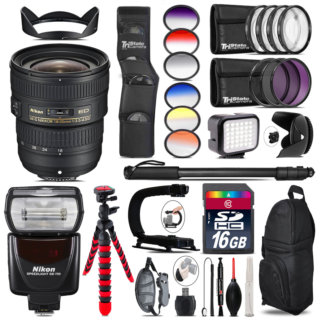 Nikon AF-S 18-35mm Lens + Nikon SB-700 AF Speedlight + LED - 16GB Accessory Kit *FREE SHIPPING*