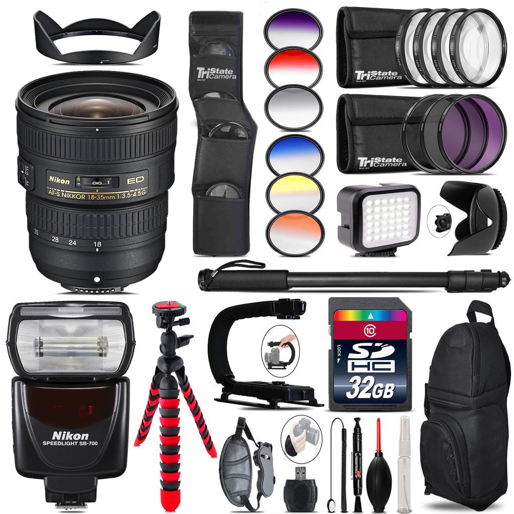 Nikon AF-S 18-35mm Lens +  SB-700 AF Speedlight + LED - 32GB Accessory Kit *FREE SHIPPING*