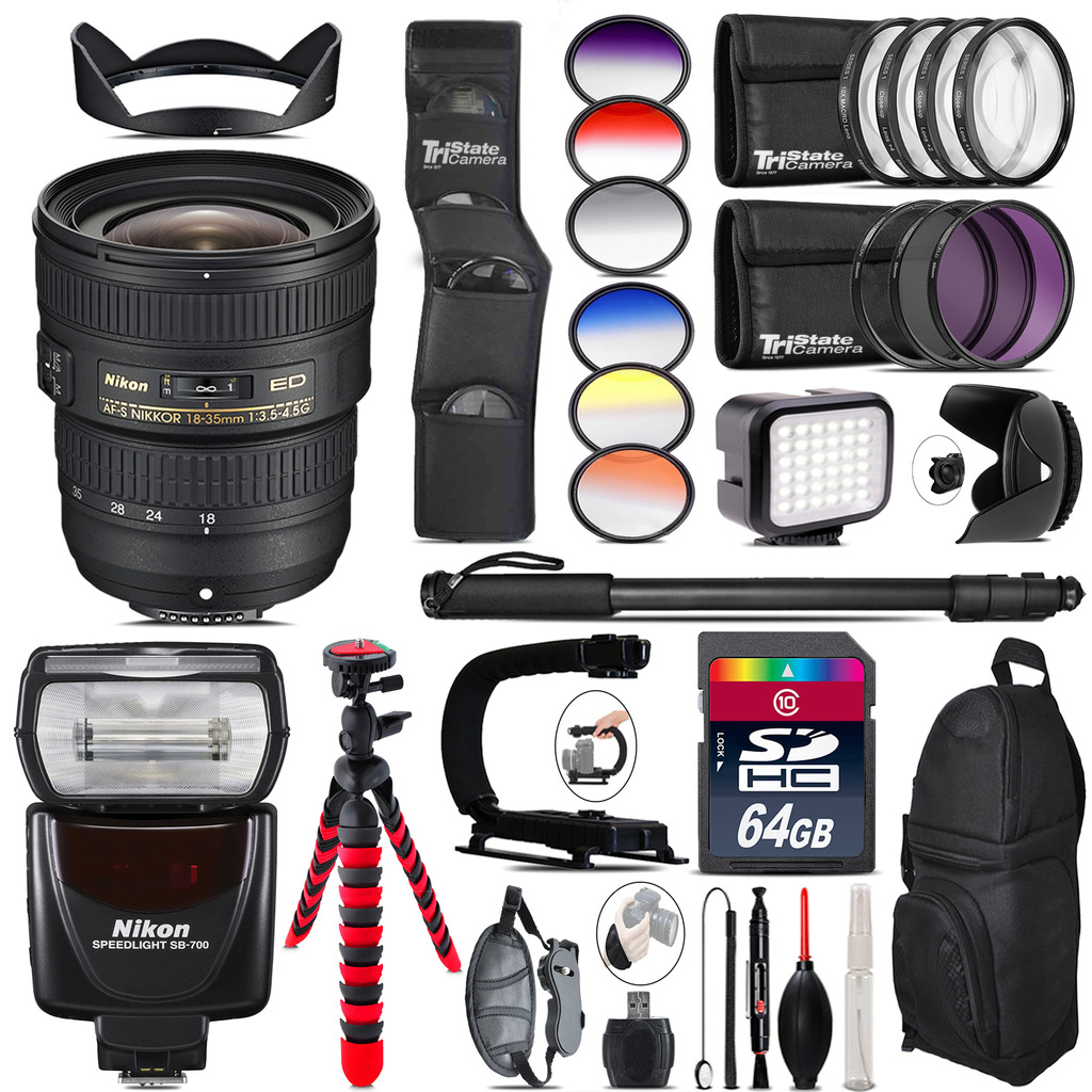 Nikon AF-S 18-35mm Lens + SB-700 AF Speedlight + LED - 64GB Accessory Kit *FREE SHIPPING*
