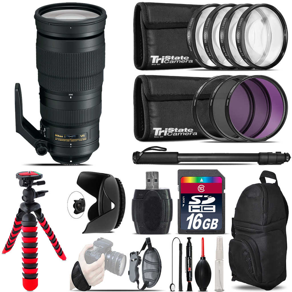 Nikon AF-S 200-500mm  VR Lens + Macro Filter Kit & More - 16GB Accessory Kit *FREE SHIPPING*