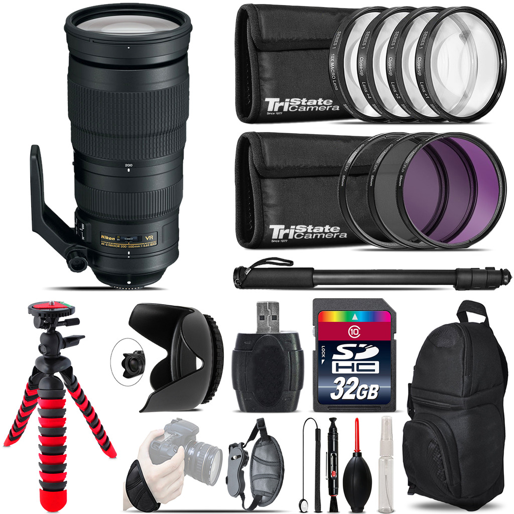 Nikon AF-S 200-500mm  VR Lens + Macro Filter Kit & More - 32GB Accessory Kit *FREE SHIPPING*