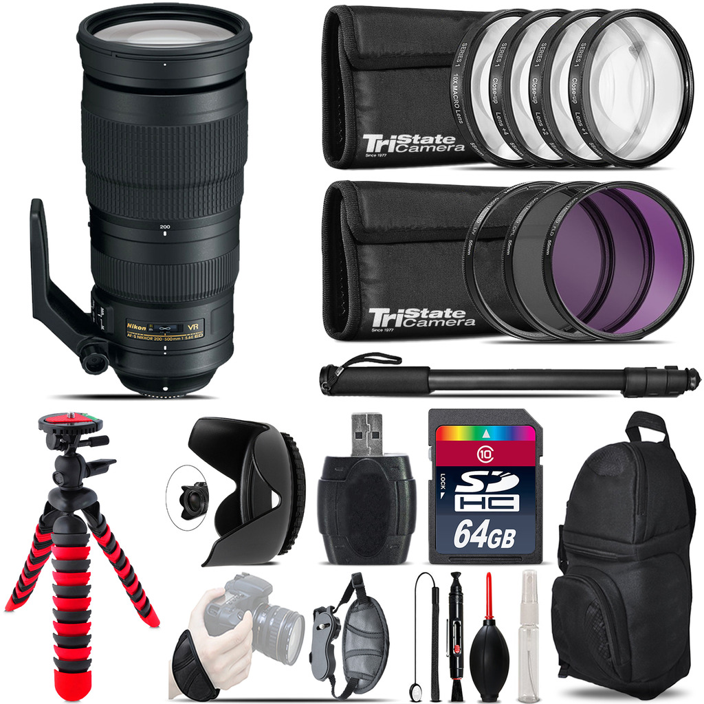 Nikon AF-S 200-500mm  VR Lens + Macro Filter Kit & More - 64GB Accessory Kit *FREE SHIPPING*