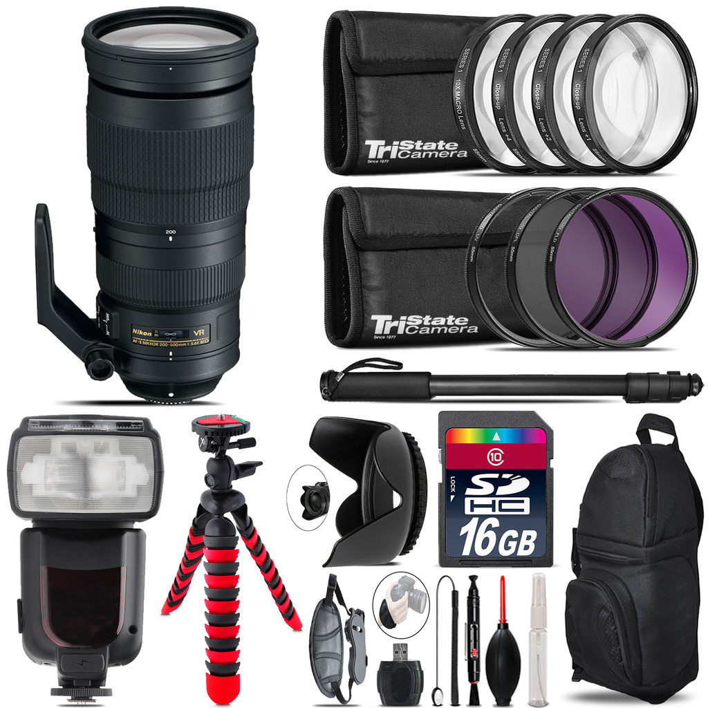 Nikon AF-S 200-500mm  VR Lens + Professional Flash & More - 16GB Accessory Kit *FREE SHIPPING*