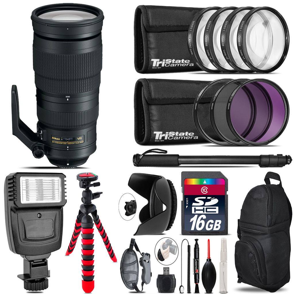 Nikon AF-S 200-500mm  VR Lens + Flash +  Tripod & More - 16GB Accessory Kit *FREE SHIPPING*