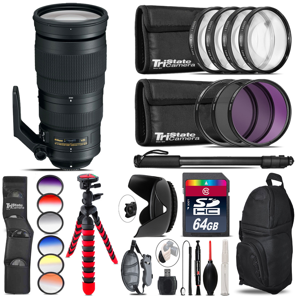 Nikon AF-S 200-500mm  VR Lens + Graduated Color Filter - 64GB Accessory Kit *FREE SHIPPING*