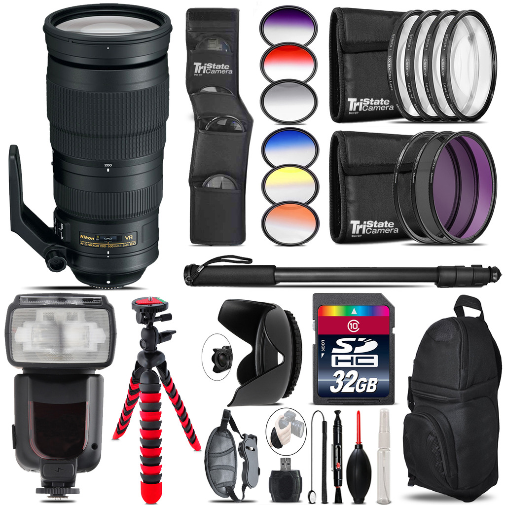 Nikon AF-S 200-500mm  VR Lens + Pro Flash + Filter Kit - 32GB Accessory Kit *FREE SHIPPING*