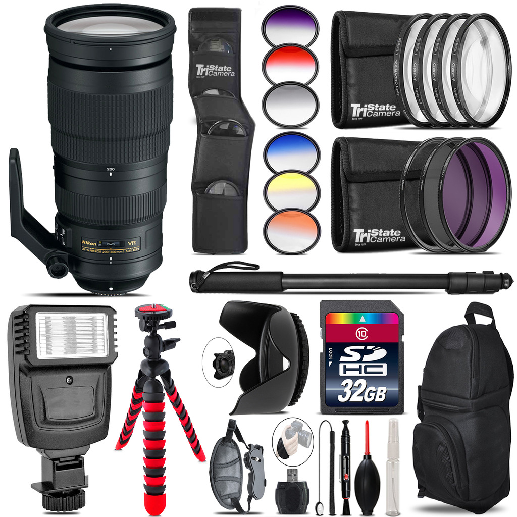 Nikon AF-S 200-500mm  VR Lens + Flash + Color Filter Set - 32GB Accessory Kit *FREE SHIPPING*